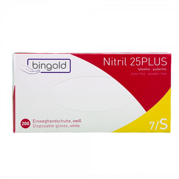 BINGOLD 25PLUS Nitril Einweghandschuhe 200er Box, puderfrei, weiß