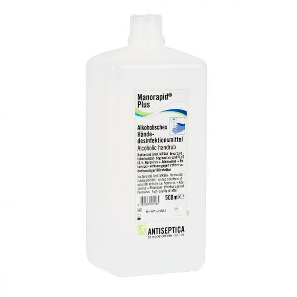 Manorapid Plus Händedesinfektionsmittel mit Alkohol 500ml Flasche