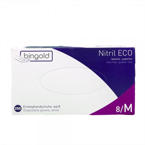 BINGOLD ECO Nitril Einweghandschuhe 250er Box, puderfrei, weiß